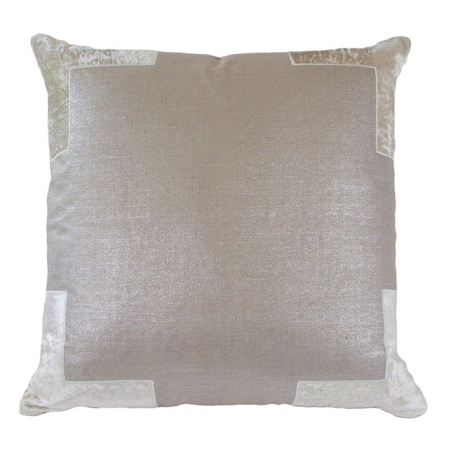 Natural metallic linen pillow with birch linen appliqued corners. Back is same as front. 95% Feather 5% Down Insert. Made...