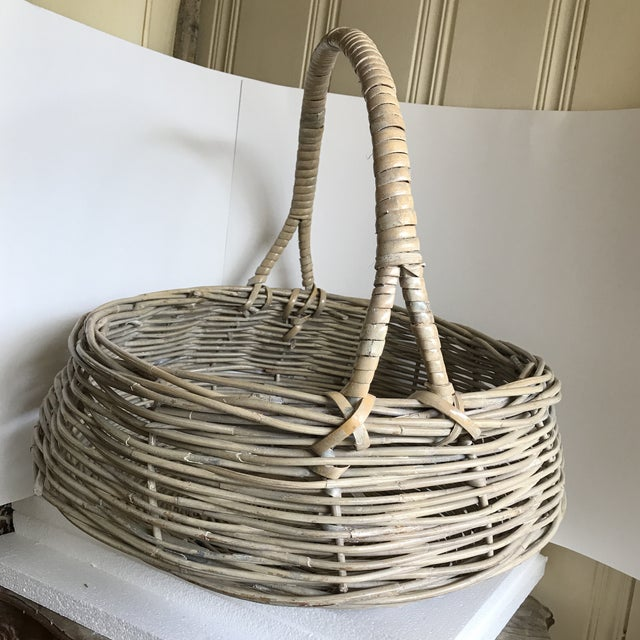 Extra Large Wood Woven Decor Basket For Sale - Image 4 of 11