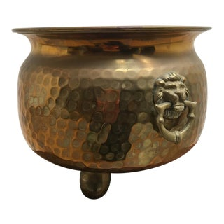 Footed Hammered Brass Lion's Head Planter For Sale