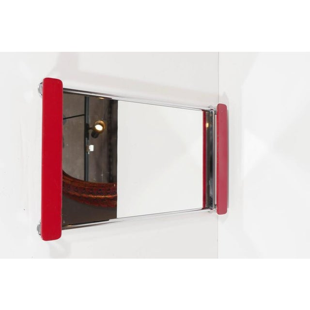 Chrome Art Deco Mirrored Bar Tray with Red Lacquered Handles For Sale - Image 7 of 11