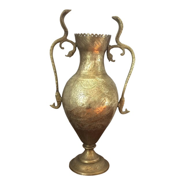 Vintage Brass Vase with Snake and Fish Handles For Sale