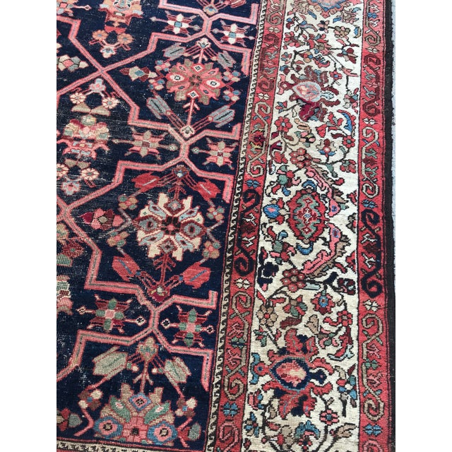 Vintage Design Decorative Blue Background Color Mahal Rug- 9′5″ × 13′5″ For Sale In Los Angeles - Image 6 of 13