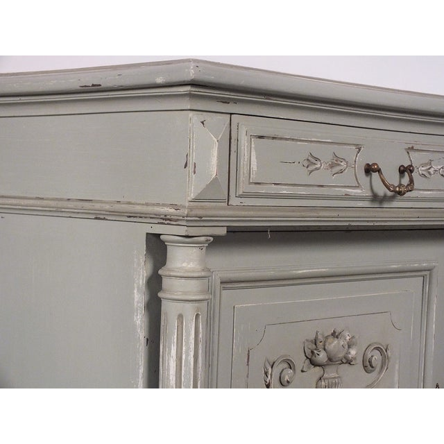19th C. French Vintage Gray Credenza - Image 9 of 11