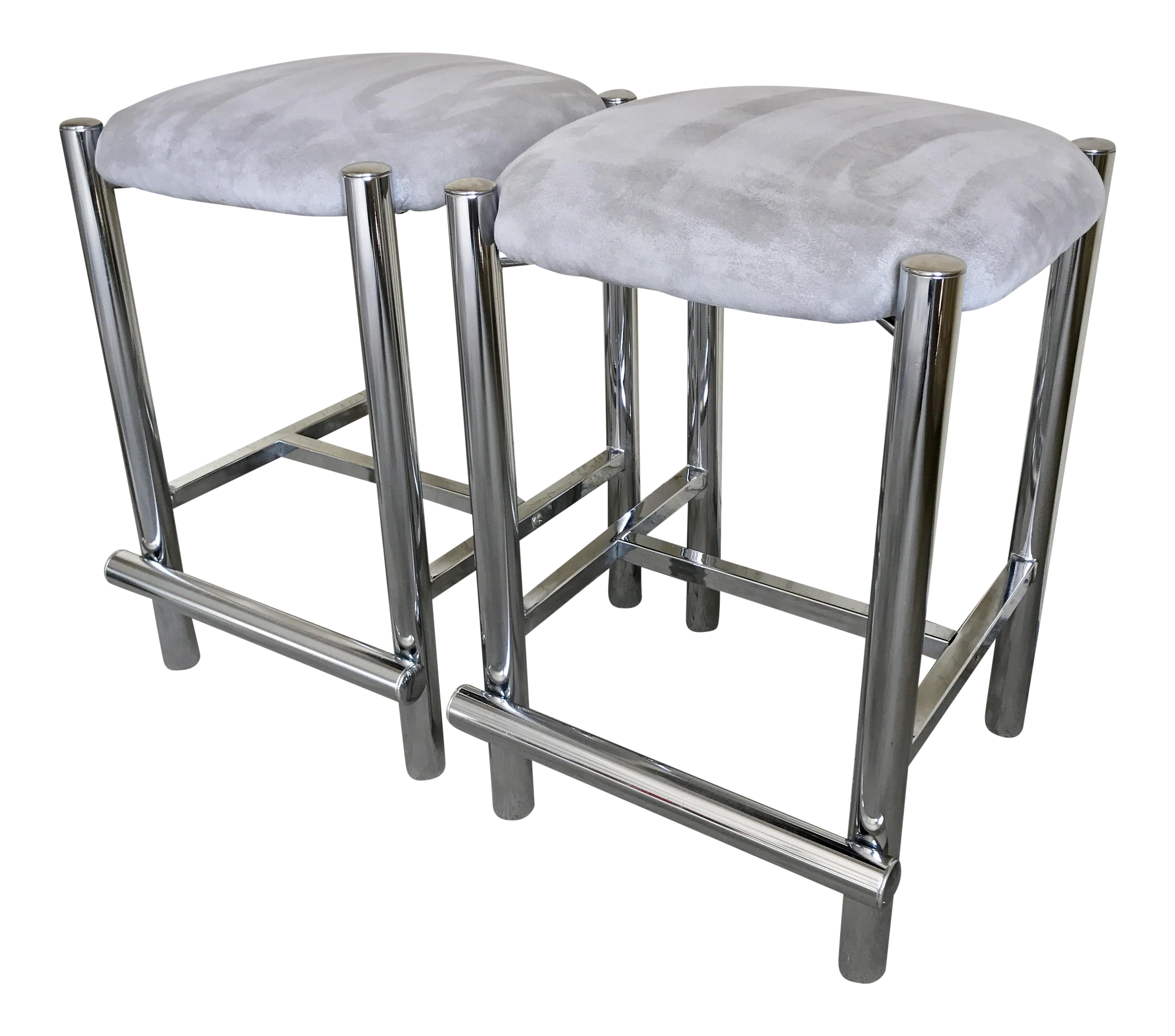 Baughman Style Chrome Tubular Counter Stools A Pair