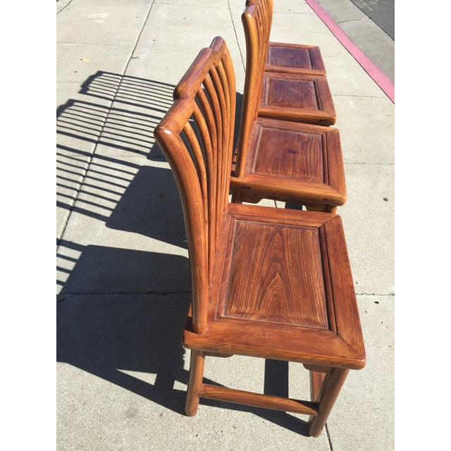 Brown Antique Asian Tea Table Chairs - Set of 4 For Sale - Image 8 of 12