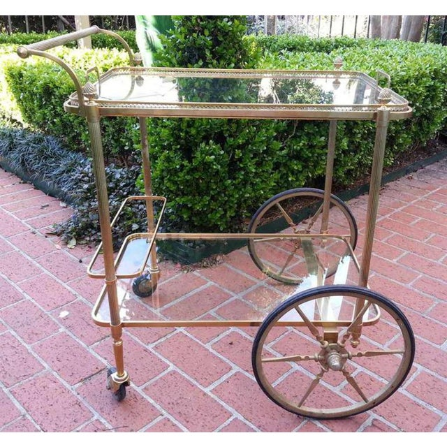 Beautiful brass circa 1960's Maison Bagues serving cart with gallery tray top.