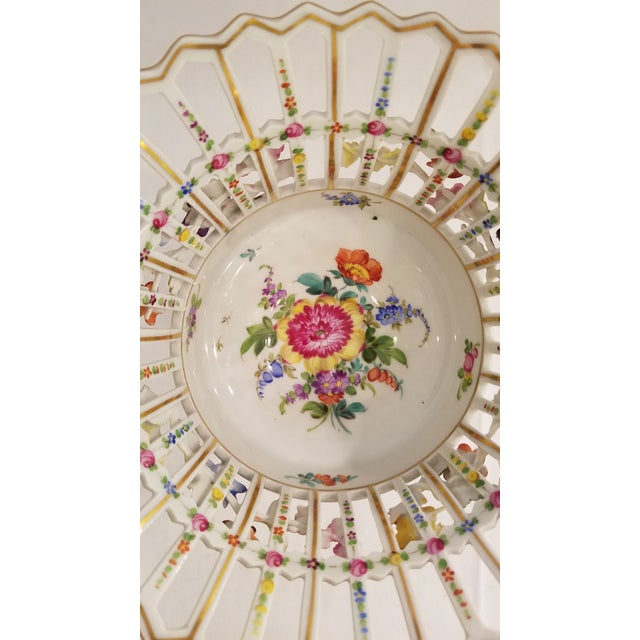 Dresden Porcelain Compote With Applied Flowers and Pierced Bowl 7.75 Inches Tall For Sale In Denver - Image 6 of 8