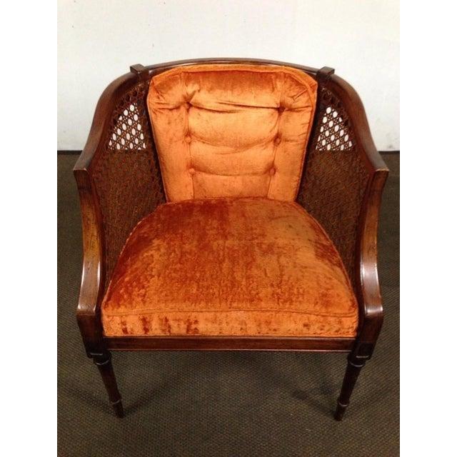 Antique Walnut & Cane Velvet Upholstered Armchair - Image 3 of 5