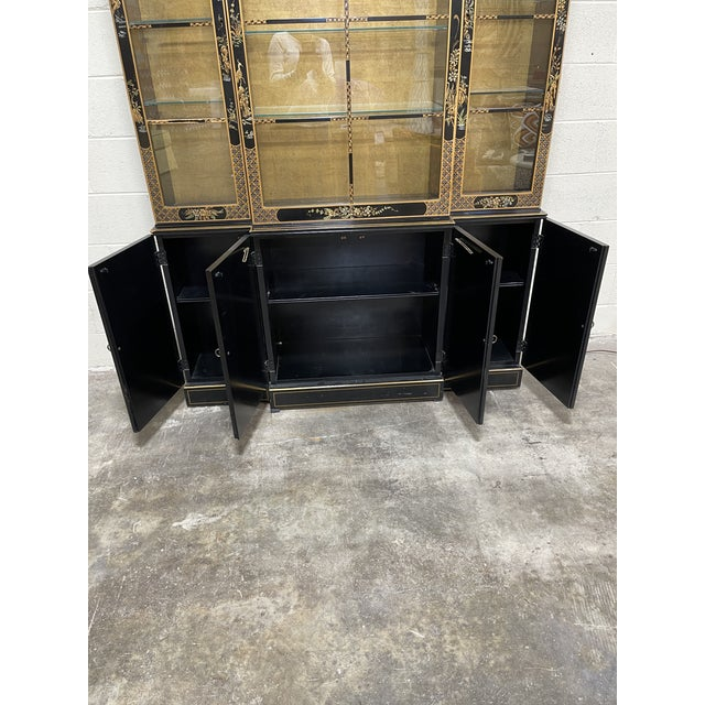 Drexel Hand Painted Black Lacquer China Cabinet For Sale In Richmond - Image 6 of 7