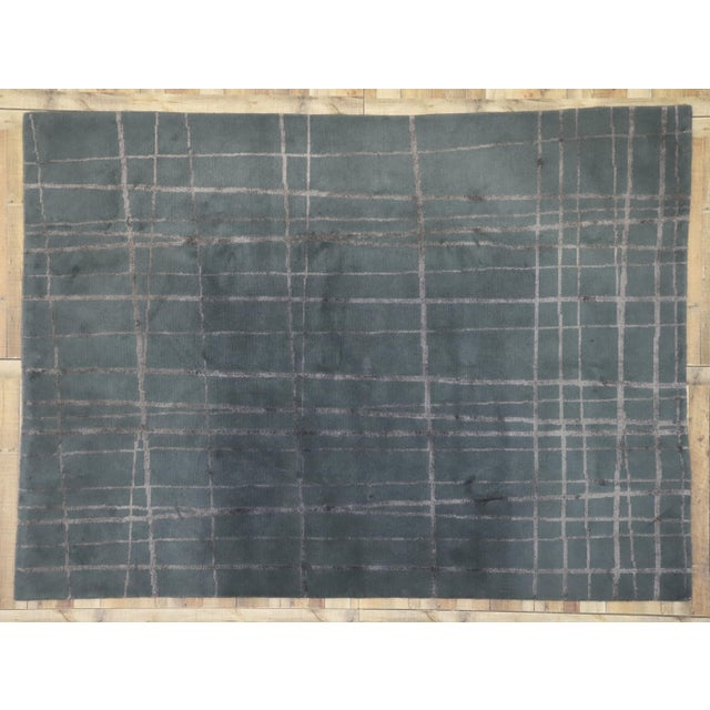 Slate Gray Vintage Tibetan Abstract Expressionism Rug - 7'10 X 10'9 For Sale - Image 8 of 10