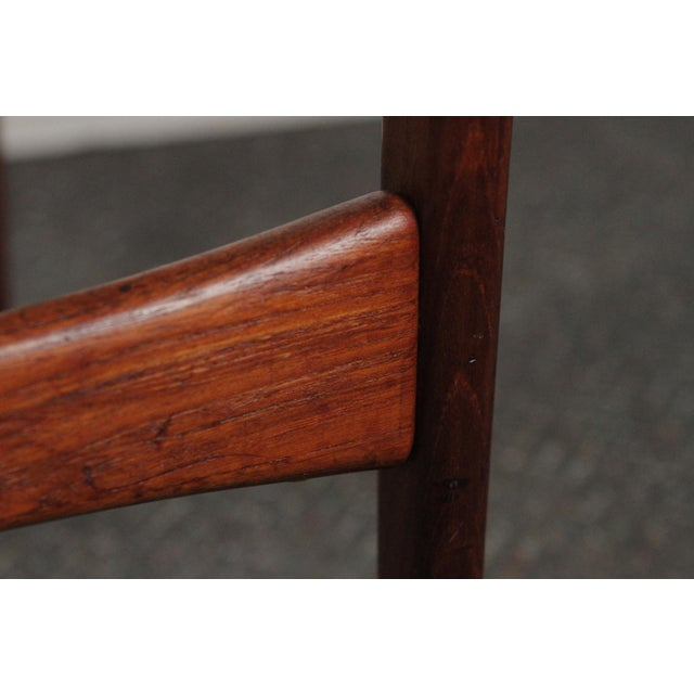 1950s Vintage Arne Hovmand-Olsen for Jutex Teak and Leather Rounded-Back Chair For Sale - Image 11 of 12