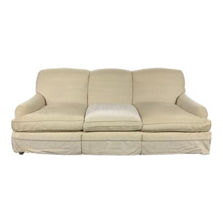 Traditional Ivory Upholstered Sofa For Sale