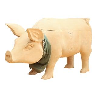 Oversized Vintage Carved Wooden Pig with Storage
