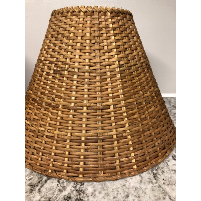 Boho Chic Vintage Rattan Lamp Shades - a Pair For Sale - Image 3 of 12