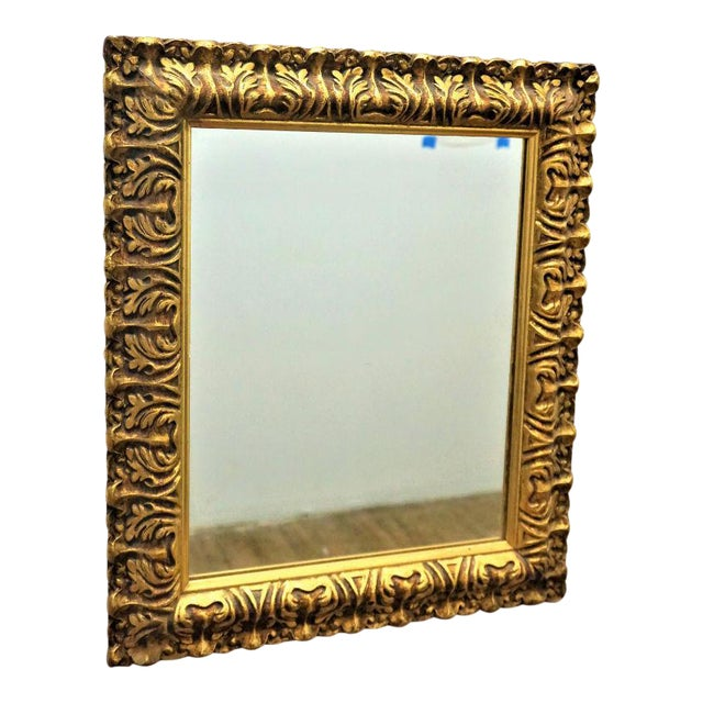 Mid-Century Carved Gilded Gold Wall Mirror - Image 5 of 5