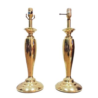 Vintage Tall Tapered Brass Stiffel Lamps - a Pair For Sale