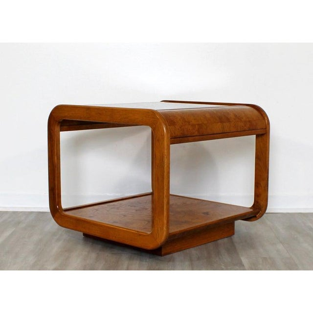 Mid Century Modern Pair Burlwood Coffee & Side End Table 1970s For Sale - Image 10 of 13