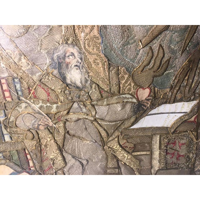 """Early 19th Century """"Moses Reading Scriptures"""" Silk Textile Art, Framed For Sale - Image 4 of 9"""