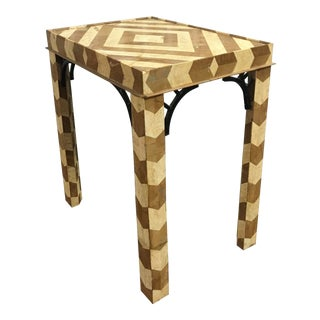 Chevron Stone Inlay Side Table For Sale