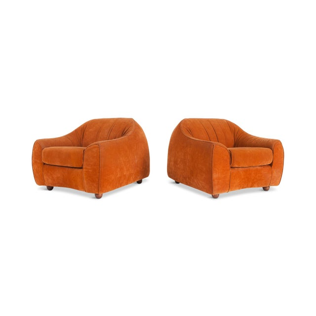 Mid-Century Modern Orange Suede Italian Easy Chairs For Sale - Image 4 of 7