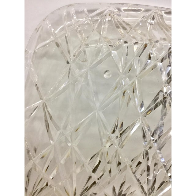 Large Vintage Clear Carved Lucite Serving Tray For Sale - Image 9 of 13