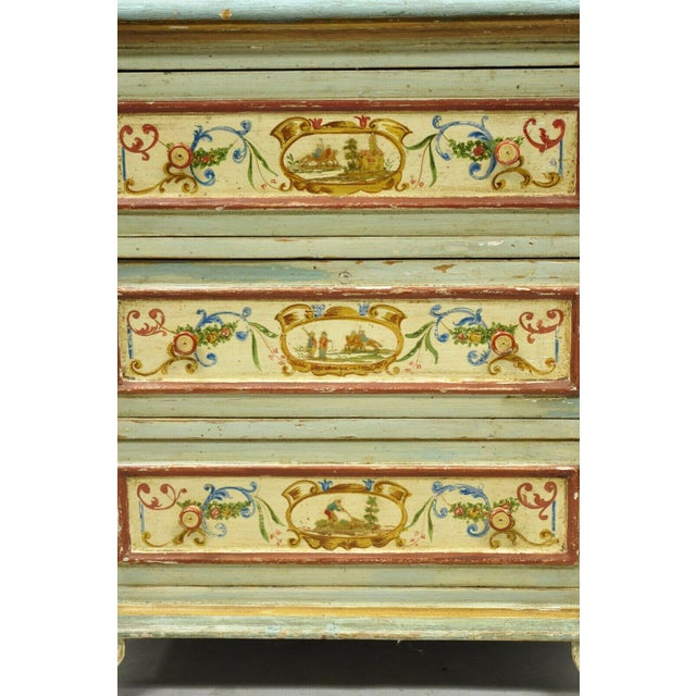 Early 20th Century Antique Italian Venetian Blue Painted 3 Drawer Commode Chest of Drawers For Sale - Image 5 of 13