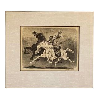 "William Gropper Framed ""Horsemen"" Signed Lithograph For Sale"