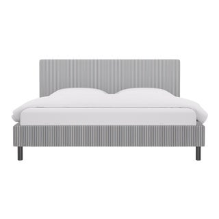 King Tailored Platform Bed in Grey Fairfield Stripe For Sale