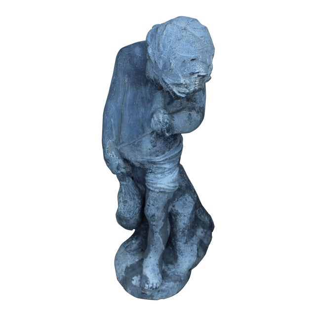 Image of Vintage Boy Fishing Garden Statue