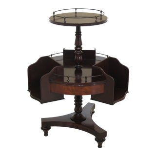Beacon Hill Vintage Regency Round Mahogany Bookshelf Table For Sale