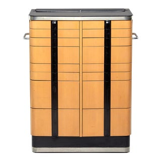 Art Deco Era Medical Cabinet in Maple and Black For Sale