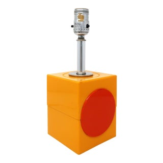 Vintage Mod Orange & Red Table Lamp For Sale