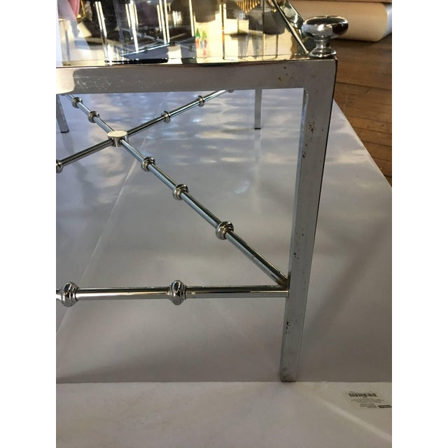 2000 - 2009 Maison Jansen Style Long Chrome Faux Bamboo Cocktail Table For Sale - Image 5 of 6