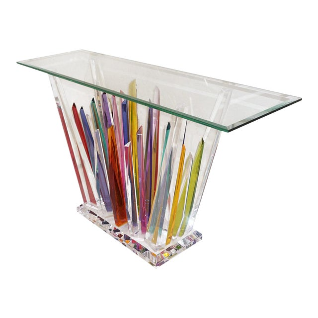 Abstract Design Rock Acrylic Multicolor Console With Clear Bevelled Glass Top For Sale