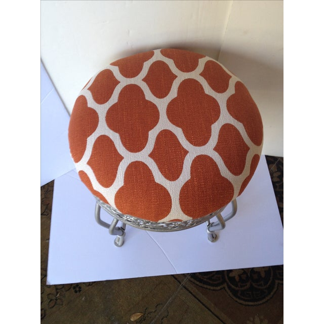 Contemporary Pumpkin and Industrial Gray Vanity Stool For Sale - Image 3 of 5