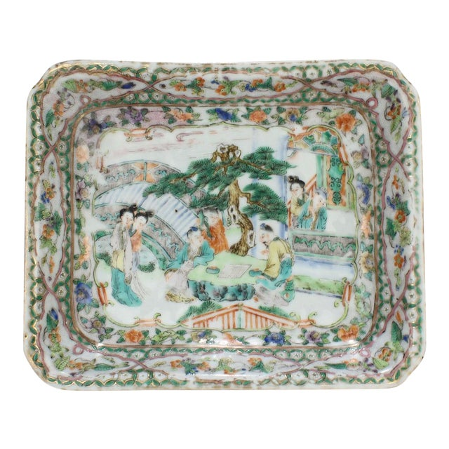 Antique Chinese Export Porcelain Famille Verte Bowl For Sale