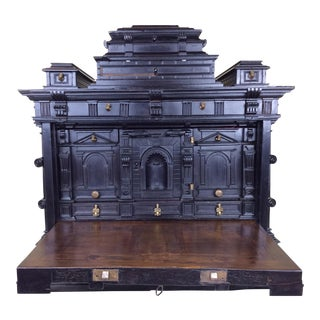 Antique Spanish Baroque Carved Ebony Table Top Box