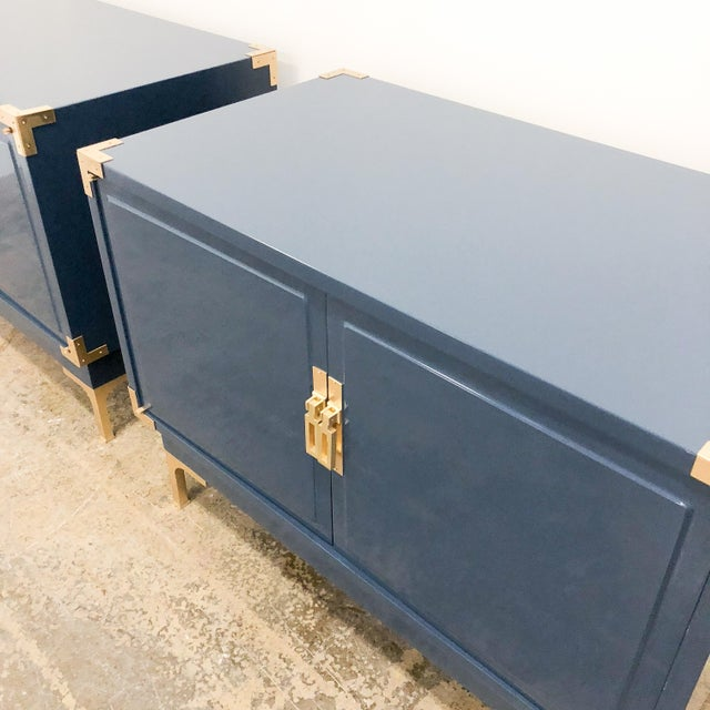 Gold Campaign Navy High Gloss Lacquered Nightstands -Set of 2 For Sale - Image 7 of 10