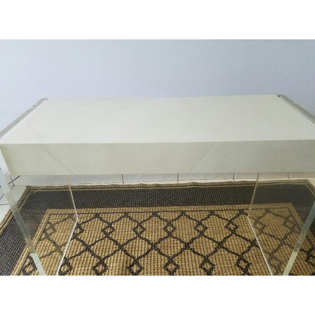 Faux Goat Skin Finish Lucite Wood Desk For Sale - Image 9 of 11