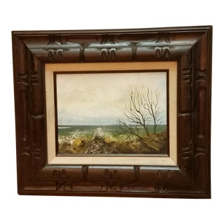 1970s Coastal Scene Oil Painting
