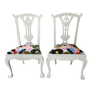 Vintage Claw Foot Dining Chairs High Back W/Marimekko Textile, Pair