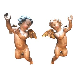 19th Century Antique Carved and Polychrome Wood Putti Sculptures - a Pair For Sale