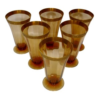 Amber and Gold Parfait/Ice Tea Footed Glasses - Set of 6 For Sale