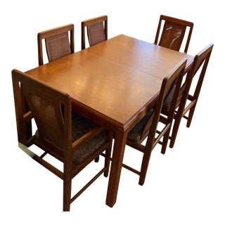 1970s Sears & Roebuck Oak Dining Table with 6 Chairs For Sale