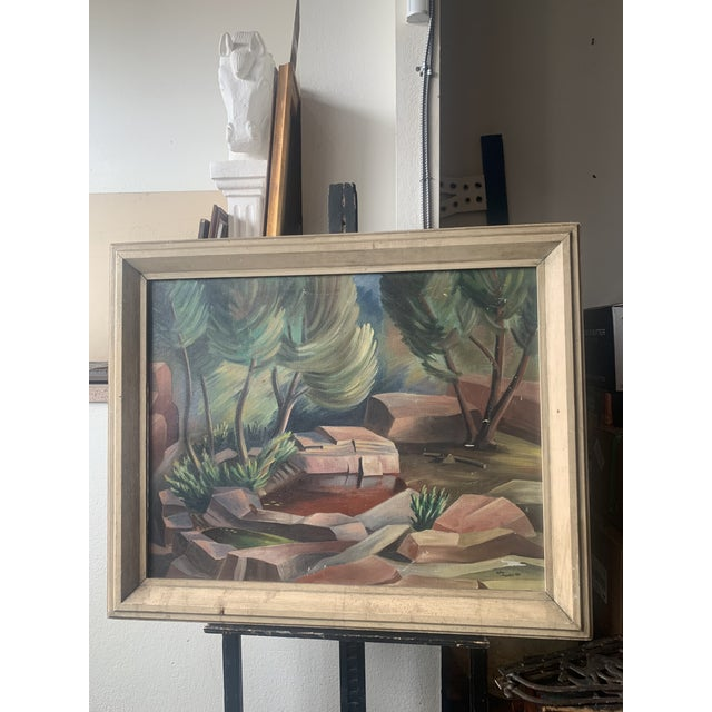 1940s Abstract Forest Landscape Oil Painting, Framed For Sale - Image 9 of 9