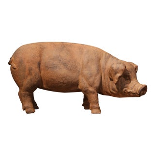 20th Century French Patinated Terracotta Garden Pig Sculpture For Sale