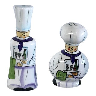 Vintage Tall and Short Chef Salt and Pepper Shakers - a Pair For Sale