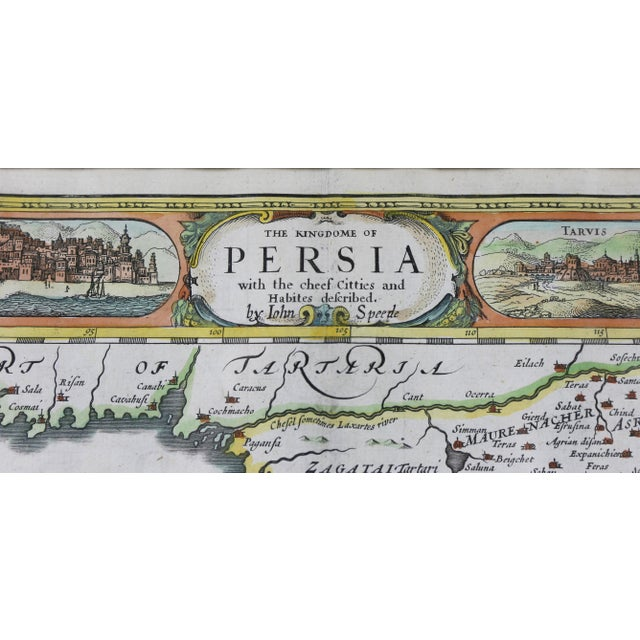 Traditional Framed Hand Colored Map of Persia by John Speed For Sale - Image 3 of 10