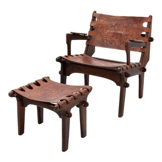 Lounge Chair and Ottoman Set by Angel Pazmino in Rosewood and Tooled Leather, Ecuador, 1960s For Sale