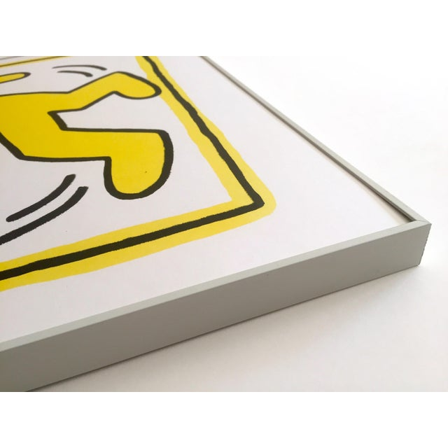 """Yellow Rare Vintage """" Keith Haring 1982 """" Original Pop Art Lithograph Print Framed Exhibition Poster For Sale - Image 8 of 11"""